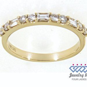 Natural Baguette Diamond Fancy Band Yellow Gold